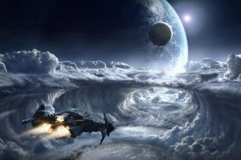 Space wallpaper, earth, fantasy, spaceship, spacecraft, space shuttle