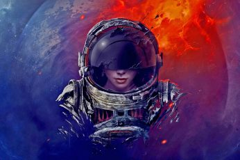 Astronaut wallpaper, digital art, spacesuit, helmet, universe