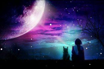 Wallpaper earth moon with purple light illustration, artwork, digital art