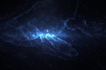 Wallpaper black and blue nebula digital wallpaper, digital art, artwork