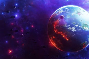 Wallpaper Earth in space wallpaper, universe, stars, digital art, planet