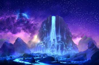 Wallpaper mountain and waterfall illustration, digital art, fantasy art