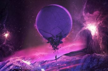 Wallpaper purple planet illustration, pink, universe, stars, fantasy art