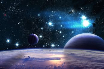 Space art wallpaper, fantasy art, outer space, sky, earth, exoplanet