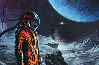 Wallpaper man in orange astronaut suit with moon wallpaper, man with helmet on moon painting