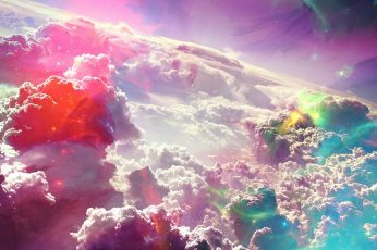 Wallpaper sky, atmosphere, cloud, space art, fantasy art, stars, sunlight