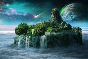 Fantasy art wallpaper, space art, waterfall, island, castle, city, sky