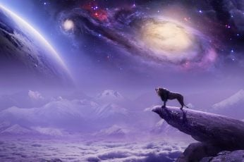 Nature wallpaper, roar, universe, space, fantasy art, lion, purple, sky