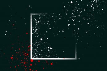 Silver frame border, black, white, and red artwork, abstract