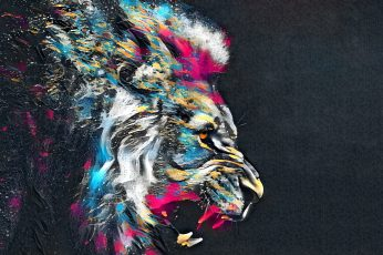 Artwork, lion, colorful, big cats, abstract, digital art, simple background