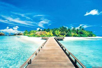 Brown wooden dock, beach, water, pier, tropical, sky, sea, clouds wallpaper