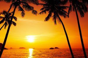 Afterglow, red sky, red sunset, orange sunset, caribbean, dusk wallpaper