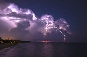 White lightning, nature, landscape, clouds, storm, horizon, sea wallpaper