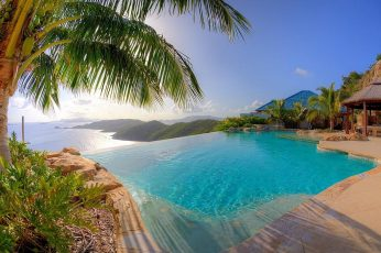 Infinity pool, nature, landscape, resort, swimming pool, palm trees wallpaper