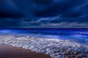 Beach, twilight, darkness, night, evening, coast, dusk, cloudy wallpaper