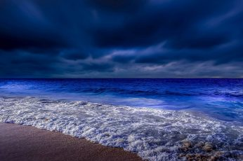 Beach, twilight, darkness, night, evening, coast, dusk, cloudy wallpaper