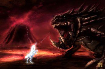 Unicorn and monster digital wallpaper, Kirin, Akantor, Monster Hunter