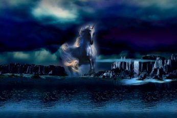 Midnight Blue 1920×1080, fantasy, unicorn wallpaper, water, waterfalls