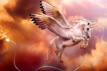 Sky, unicorn wallpaper, pegasus, dreamland, wing, mythology, artwork