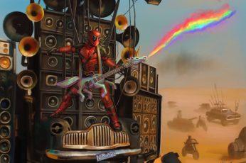 Marvel Deadpool digital wallpaper, Mad Max: Fury Road, unicorn wallpaper