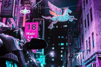 Unicorn wallpaper flying near road, street, sign, car, wing, neon, cyberpunk