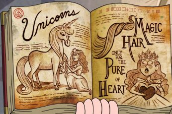 Unicrons book illustration, Gravity Falls, unicorns, text, art and craft