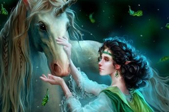 Fantasy girl and the Unicorn wallpaper