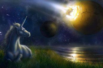 Unicorn wallpaper, unicorn watching the galaxy painting, fantasy, 2560×1440