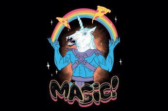 White unicorn clip art with magic text overlay, unicorn wallpaper, rainbows
