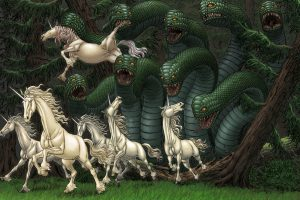 Group of unicorns running away from monster artwork, Kentaro Miura