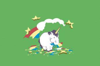 White unicorn wallpaper, rainbows, simple, minimalism, green