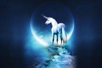 White unicorn graphic wallpaper, unicorns, blue, nature, water