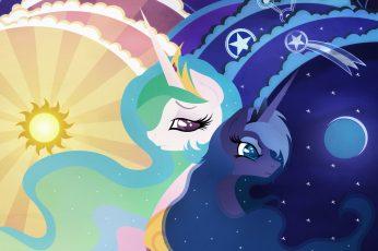 Purple and white unicorns wallpaper, my little pony, mlp, princess luna