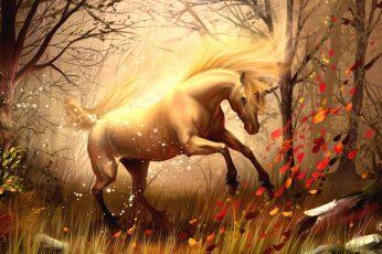 Nature, horse, unicorn wallpaper, tree, fantasy art, artwork, mythology