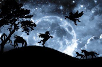 Fantasy night, luna, luminos, unicorn, horse, silhouette, pegasus