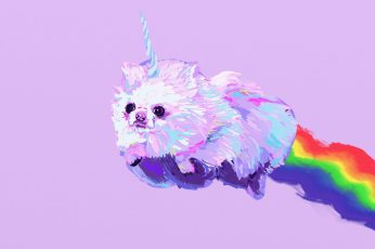 Dog, dogs, fantasy, pomeranian, unicorn wallpaper