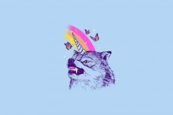 Drugs, simple, LSD, animals, wolf, unicorn wallpaper, butterfly
