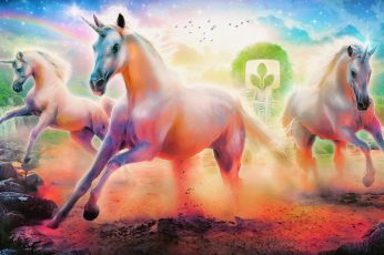 Three white horses illustration, unicorn wallpaper, rainbow, emblem, tree