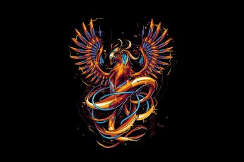 Fantasy, Art, bird, Vector wallpaper, Background, Phoenix, Illustration