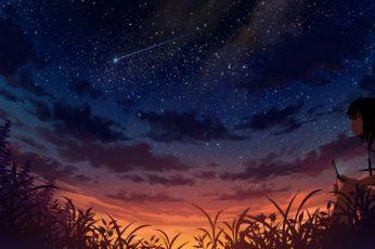 Sky, anime, beautiful, girl, nature, atmosphere, darkness, night
