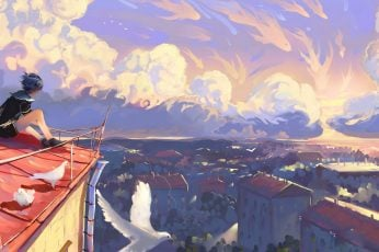 Man on top of the roof painting, artwork, illustration, sunset