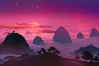 Mountains illustration, artwork, sunset, sky, stars, beauty in nature