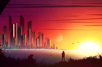 Sunset scenery illustration, sunset and building photgraphy, Kvacm wallpaper