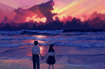 Anime wallpaper, illustration, landscape, sea, sunset, painting, digital art