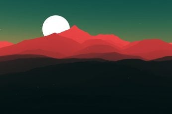 Red mountains and moon digital wallpaper, red mountain illustration
