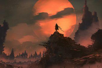 Digital art, soldier, sword, warrior, castle, mountains, landscape