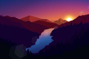 Illustration, landscape, mountains, nature, sunset, river, digital art