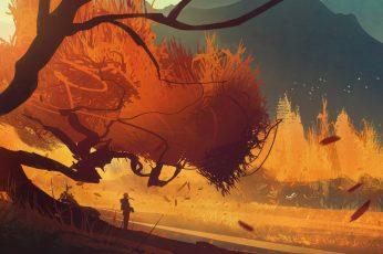 Person near trees graphic illustration, artwork, fantasy art