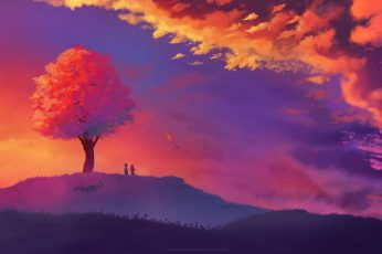 Illustration, landscape, tree bark, nature, fantasy art, sunset
