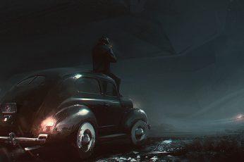 Vintage black car, classic car, artwork, noir, mode of transportation wallpaper